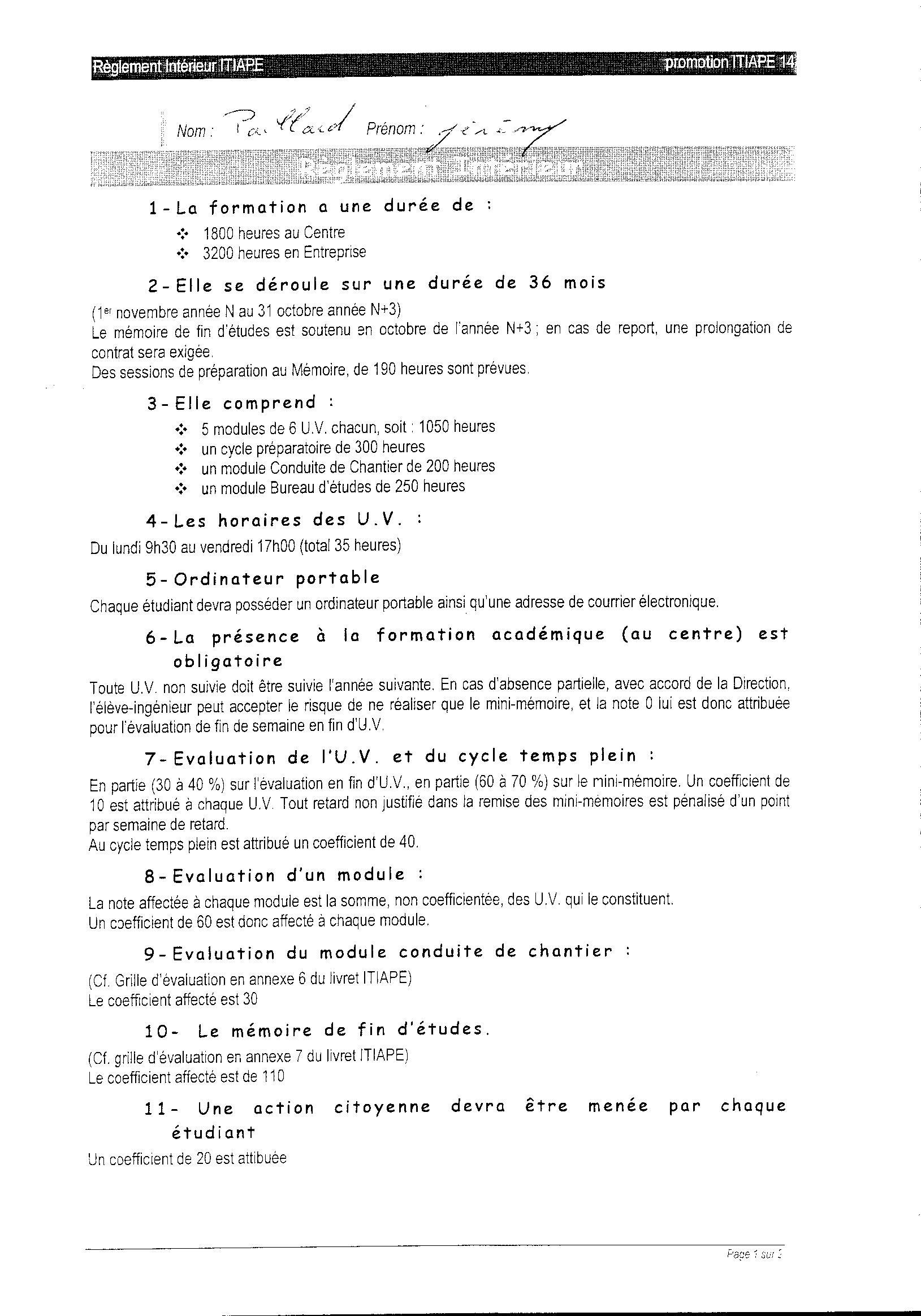 Carnet de liaison r glement int rieur itiape for Reglement interieur entreprise